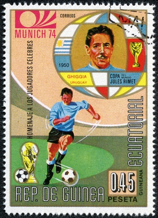 REPUBLIC OF EQUATORIAL GUINEA - CIRCA 1974  A stamp printed in the Republic of Equatorial Guinea shows football player  Champions Cup   Munich, Germany  and portrait Copa Jules Rimet, circa 1974  Stock Photo - 17615045