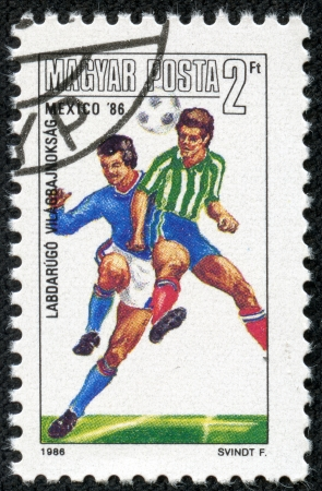 HUNGARY-CIRCA 1986 A post stamp printed in Hungary, shows football players, devoted Football World Cup Championship, Mexico 1986, circa 1986  Stock Photo - 17614988