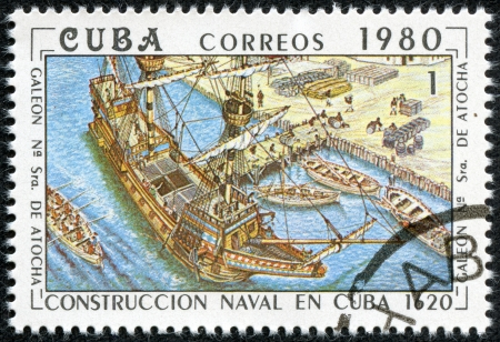 CUBA - CIRCA 1980  A stamp printed by the Cuban Post shows construction of the Cuban galleon  Nuestra Senora de Atocha   Our lady of Atocha , built in 1620, circa 1980 Stock Photo - 17615075