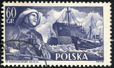 POLAND - CIRCA 1956  a stamp printed in the Poland shows Fisherman, S S  Chopin and Trawlers, circa 1956
