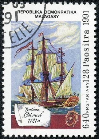 REPUBLICA MALAGASY - CIRCA 1991  A stamp printed in Malagasy  Madagascar  shows Galeon Ostrust, 1721, circa 1991 Stock Photo - 17615050