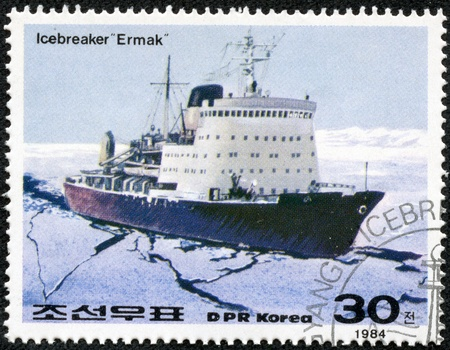 DPRK - CIRCA 1984  A stamp printed in DPRK shows a Russian nuclear icebreaker ermak, circa 1984 Stock Photo - 17615094