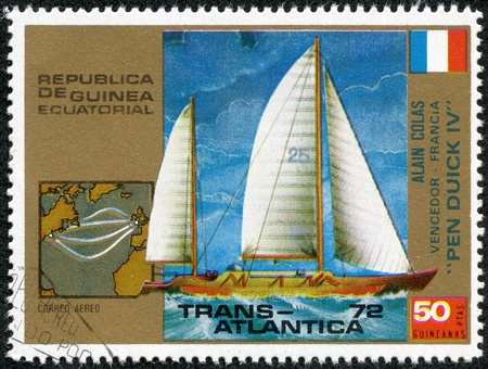 EQUATORIAL GUINEA - CIRCA 1972  stamp printed by Equatorial Guinea, shows regatta, circa 1972  Stock Photo - 17615096