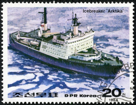 DPRK - CIRCA 1984  A stamp printed in DPRK shows a Russian nuclear icebreaker Arktika, circa 1984 Stock Photo - 17615097