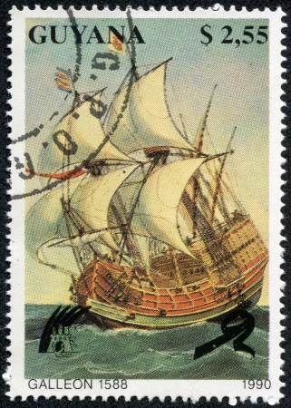 postmail: GUYANA - CIRCA 1990  A post stamp printed in Guyana shows Galleon 1588, circa 1990