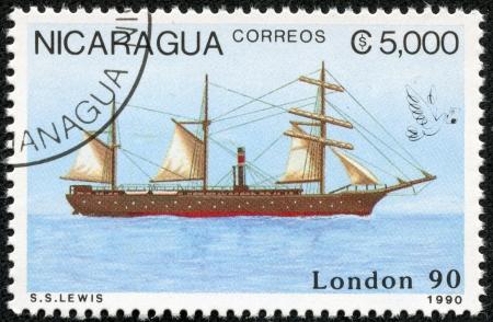 NICARAGUA - CIRCA 1990  A stamp printed in Nicaragua shows Ship, circa 1990 Stock Photo - 17713586