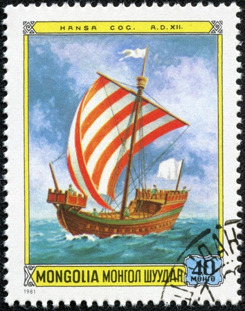 MONGOLIA - CIRCA 1981  A Stamp printed in MONGOLIA shows the Ship with the name  Hansa Cog , 12th cent  from the series  Sailing ships , circa 1981