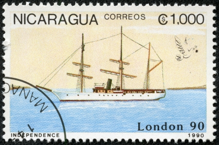 NICARAGUA - CIRCA 1990  A stamp printed in Nicaragua shows Ship, circa 1990
