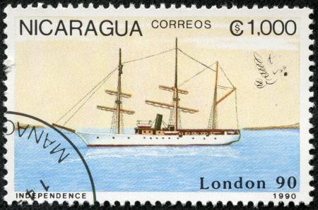 NICARAGUA - CIRCA 1990  A stamp printed in Nicaragua shows Ship, circa 1990 Stock Photo - 17713591