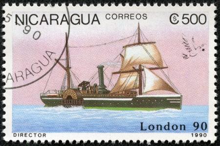 NICARAGUA - CIRCA 1990  A stamp printed in Nicaragua shows Ship, circa 1990 Stock Photo - 17713598
