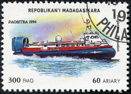 MADAGASCAR - CIRCA 1994  stamp printed by Madagascar, shows steamboat, circa 1994 Stock Photo - 17713563