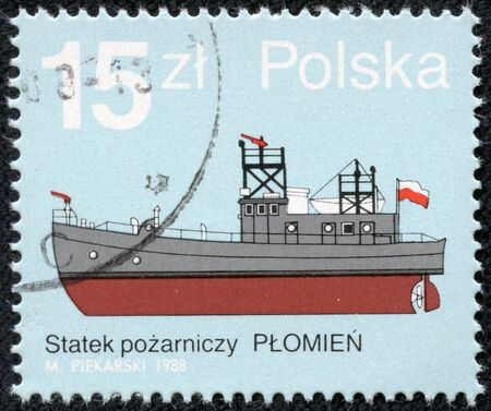 POLAND - CIRCA 1988  Postage stamp printed in Poland shows Fire Boat , circa 1988