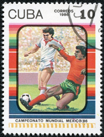 CUBA - CIRCA 1986  A stamp printed by CUBA shows football players  World football cup in Mexico, series, circa 1986