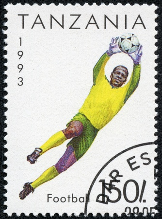 TANZANIA - CIRCA 1993  A stamp printed in Tanzania shows a goalkeeper, circa 1993