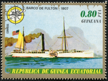 united states postal service: EQUATORIAL GUINEA - CIRCA 1974  Mail stamp printed in Equatorial Guinea shows ship, circa 1974