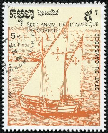 pinta: CAMBODIA - CIRCA 1991  A stamp printed in Cambodia shows image of a ship, 500th anniversary of the discovery America, circa 1991