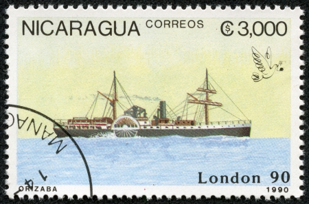 NICARAGUA - CIRCA 1990  A stamp printed in Nicaragua shows Ship, circa 1990 Stock Photo - 17913839
