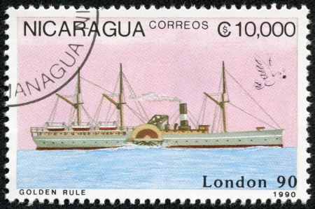 NICARAGUA - CIRCA 1990  A stamp printed in Nicaragua shows Ship, circa 1990 Stock Photo - 17913849
