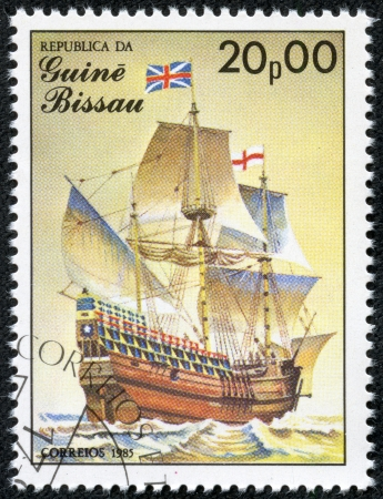 mayflower: GUINEA-BISSAU - CIRCA 1985  A stamp printed in Guinea-Bissau shows Mayflower, 17th century, Great Britain, series is devoted to sailing vessels, circa 1985 Editorial