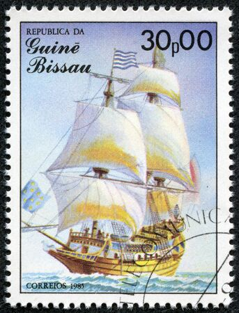 GUINEA-BISSAU - CIRCA 1985  A stamp printed in Guinea-Bissau shows St  Louis, 17th century, France, series is devoted to sailing vessels, circa 1985 Editorial