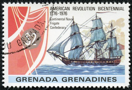 confederacy: GRENADA - CIRCA 1976  A canceled stamp printed in Grenada shows image of the frigate Confederacy circa 1976