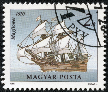mayflower: HUNGARY - CIRCA 1988  A stamp printed in Hungary showing the Mayflower on the open seas  The Mayflower transported the pilgrims to the new world, circa 1988  Editorial