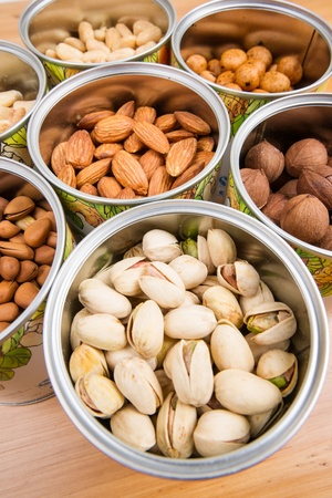 Assorted nuts in Iron pot Stock Photo - 17918203
