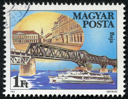 HUNGARY - CIRCA 1985  stamp printed by Hungary, shows Danube Bridge in Baja, circa 1985 Stock Photo - 18144999