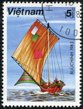 patched: VIETNAM - CIRCA 1983  A stamp printed in Vietnam, shows With patched sailing, circa 1983
