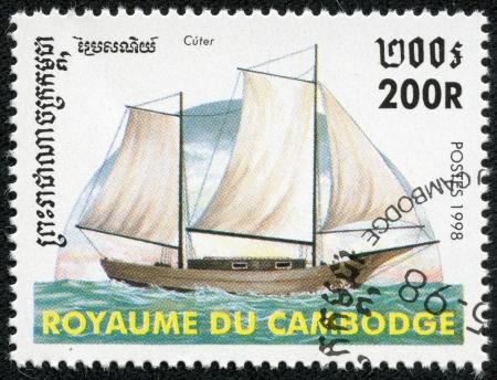 CAMBODIA - CIRCA 1998  A stamp printed in Cambodia shows image of a sailing ship, circa 1998 Stock Photo - 18144996