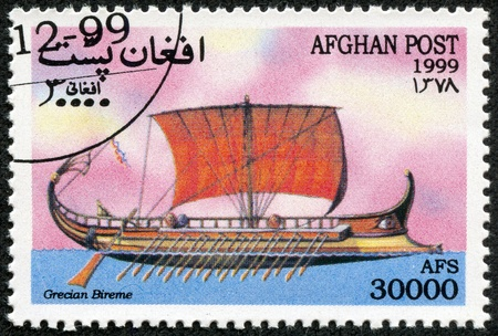 AFGHANISTAN - CIRCA 1999  A Stamp printed in Afghanistan shows sailboat, series, circa 1999 photo