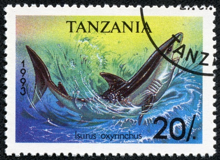 TANZANIA - CIRCA 1993  A stamp printed in Tanzania shows shortfin mako shark, Isurus oxyrinchus, circa 1993 photo