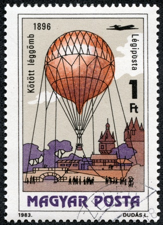 HUNGARY - CIRCA 1983  A stamp printed in Hungary, shows Kite Balloon, 1896, with the same inscription, from the series  200 Years of Manned Flight , circa 1983