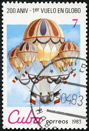 manned: CUBA - CIRCA 1983  A post stamp printed in Cuba shows Eugene Godard s quintuple  acrobatic; balloon with the inscription and name of series  Bicentenary of the 1st Manned Balloon Flight , circa 1983