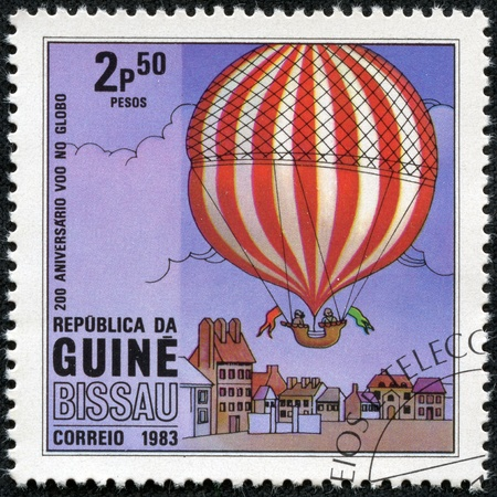 GUINEA-BISSAU - CIRCA 1983  a postage stamp printed in the Republic of Guinea-Bissau commemorative of the 200 anniversary of the first balloon flight, circa 1983