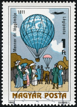 manned: HUNGARY - CIRCA 1983  A stamp printed in Hungary, shows Dr  Menner air balloon, 1811, with the same inscription, from the series  200 Years of Manned Flight , circa 1983