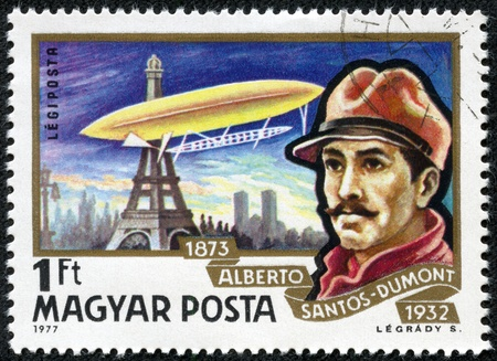 alberto: HUNGARY - CIRCA 1977  A stamp printed in Hungary, shows airship over Paris Air and portrait of Alberto Santos-Dumont, with the same inscription, from the series  History of Airships , circa 1977