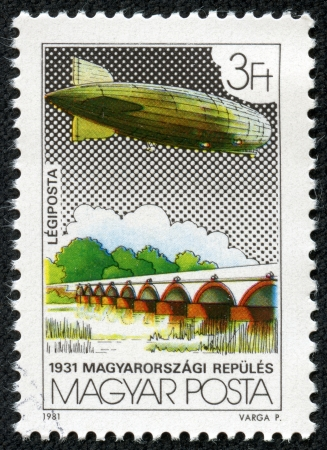 HUNGARY - CIRCA 1981  A stamp printed by Hungry, shows Graf Zeppelin Flights, circa 1981