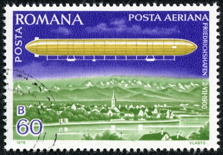 friedrichshafen: ROMANIA - CIRCA 1978  A stamp printed in ROMANIA shows an airship LZ-1 over Lake Constance, circa 1978