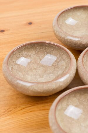 empty bowl on wooden table photo
