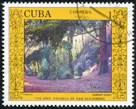 quo: CUBA - CIRCA 1988  A stamp printed in Cuba shows the  Landscape  ;quo t;, by Domingo Ramos, from the series  San Alejandro Art School, 170th Anniv  , circa 1988