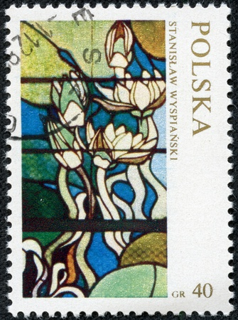 POLAND - CIRCA 1970  A stamp printed in the Poland stained-glass window Flowers , circa 1970