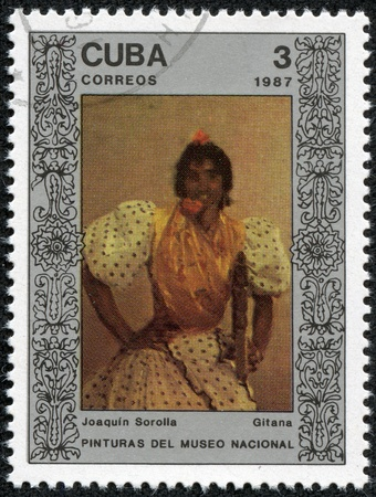 sorolla: CUBA - CIRCA 1987  A Stamp printed in CUBA shows the painting  Gypsy , by Joaquin Sorolla, from the series  Paintings in the Natl Museum , circa 1987
