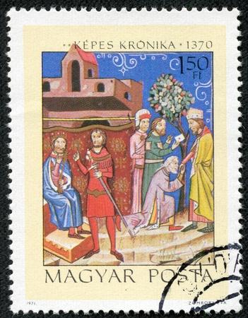 strife: UNGHERIA - CIRCA 1971 Un timbro stampato da Ungheria, mostra Strife tra Re Salomone e il principe Geza, circa 1971 Editoriali