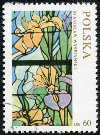vetrate colorate: POLONIA - CIRCA 1971 Un francobollo stampato in Polonia mostra Elements;, da Wyspianski con iscrizione e il nome della serie di vetrate da Stanislaw Wyspianski, circa 1971