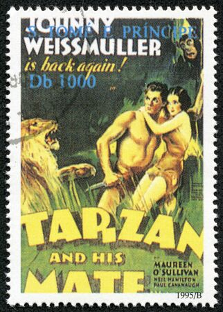 tarzan: SAO TOME - CIRCA 1995  A stamp printed in Sao Tome shows Tarzan, circa 1995 Editorial