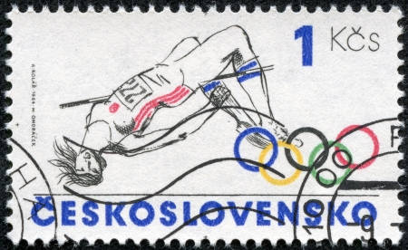 CZECHOSLOVAKIA - CIRCA 1984  A stamp printed in the Czechoslovakia, is dedicated to the Summer Olympics in Los Angeles, shows a Pole vault, circa 1984
