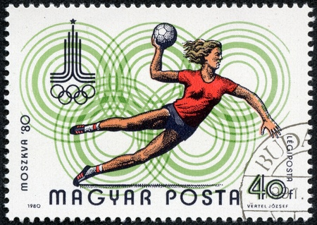 magyar posta: HUNGARY - CIRCA 1980   A stamp printed in Hungary shows Handball and Olympic emblem with the inscription  Moscow 1980 , from the series  Olympic Games in Moscow, 1980 , circa 1980 Editorial