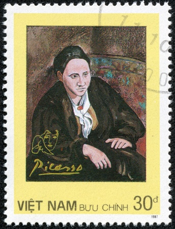 pablo: VIETNAM - CIRCA 1987  A stamp printed in Spain shows painting by Pablo Picasso, circa 1987 Editorial