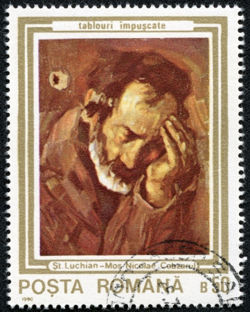 mediaval: ROMANIA - CIRCA 1990  A stamp printed in Romania shows painting of Stefan Luchian  1868-1917 , Romanian painter, circa 1990  Editorial
